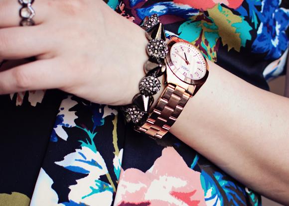 gunmetal and rose gold bracelets