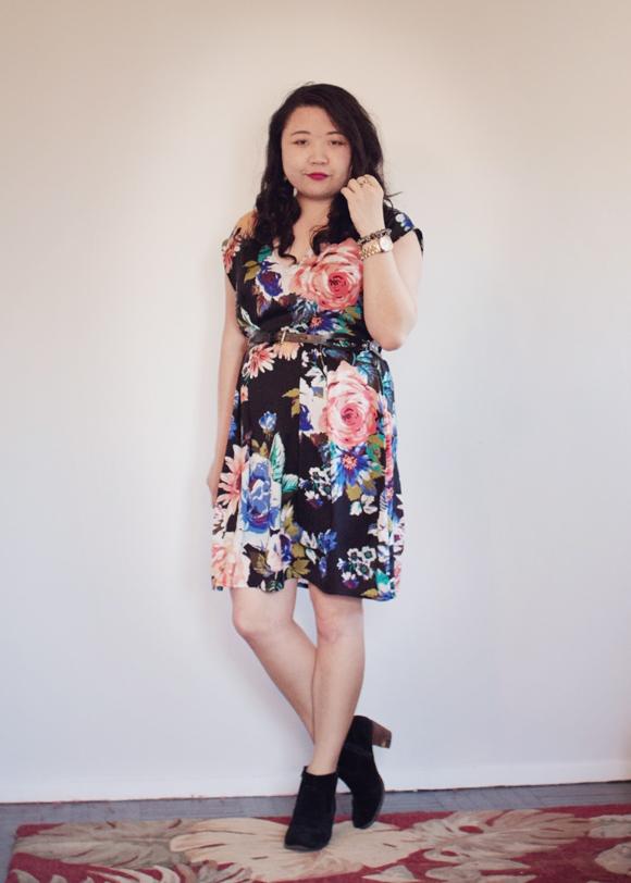 h&m rose dress