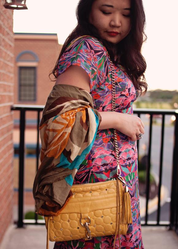 colorful maxi dress and rebecca minkoff mac