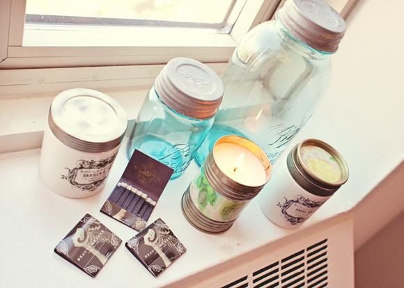 candles and mason jars on a windowsill