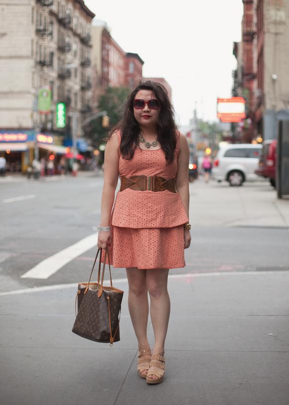 fashion blogger in soho in a forever 21 peach eyelet peplum dress