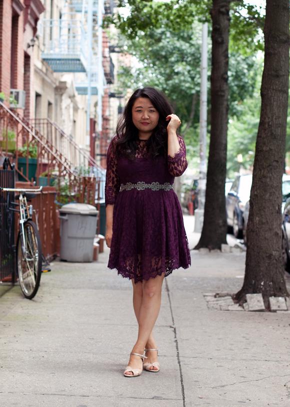 fashion blogger on the sidewalk in a purple lace free people dress - williamsburg, brooklyn