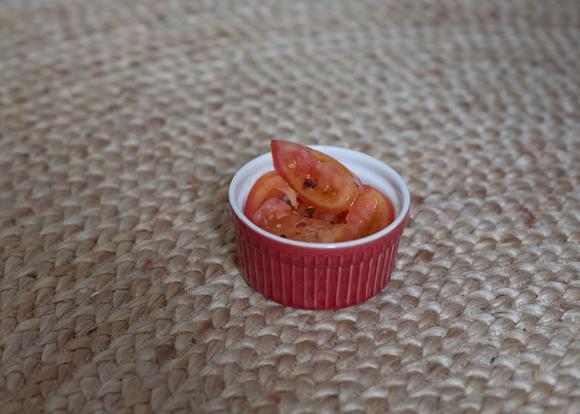 mini tomato salad in ramekin