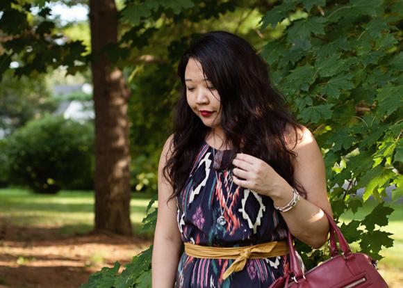 acai ikat dress and samba red coach bag fall 2013 color trends