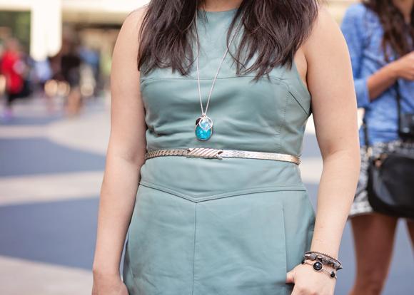 close up on accessories: vintage belt, ippolita necklace, vintage ippolita and amy o bracelets