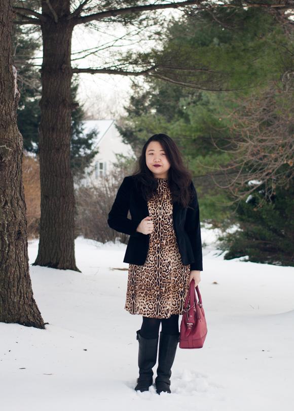 black velvet gap blazer, joe fresh leopard print dress