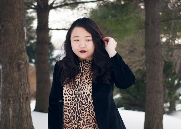 black velvet gap blazer, joe fresh leopard print dress and amy o jewelry art deco inspired pendant in the snow