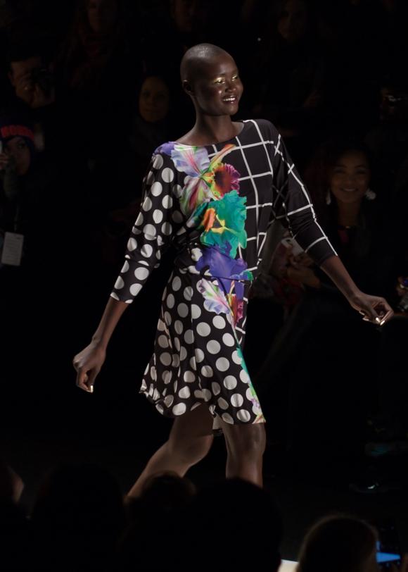 Ataui Deng at Desigual Fall 2014 Runway New York Fashion Week