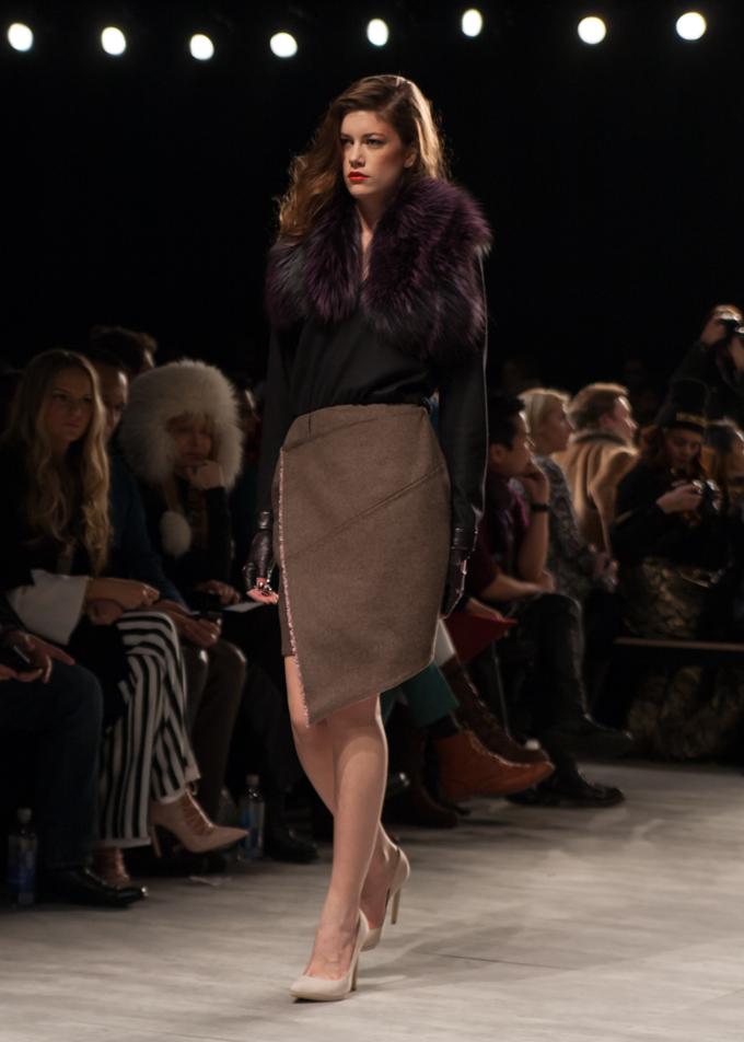 Aubergine fur and asymmetrical skirt | Georgine Fall 2014 | New York Fashion Week