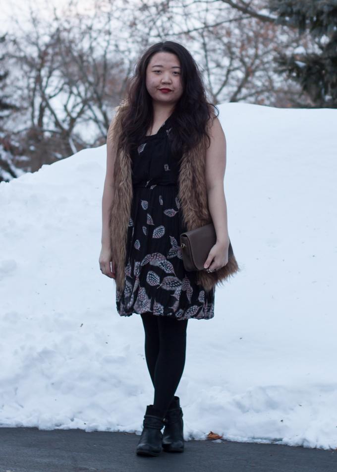 Leifsdottir dress and Vivienne Vivienne Tam faux fur vest | Outfit for dinner on a snowy day | Delayed Missives lifestyle blog