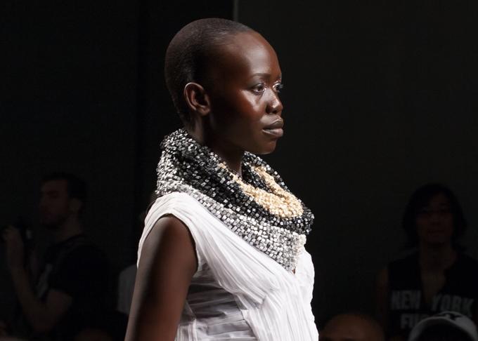 Embellished neckline at Katya Leonovich Spring 2015 | New York Fashion Week
