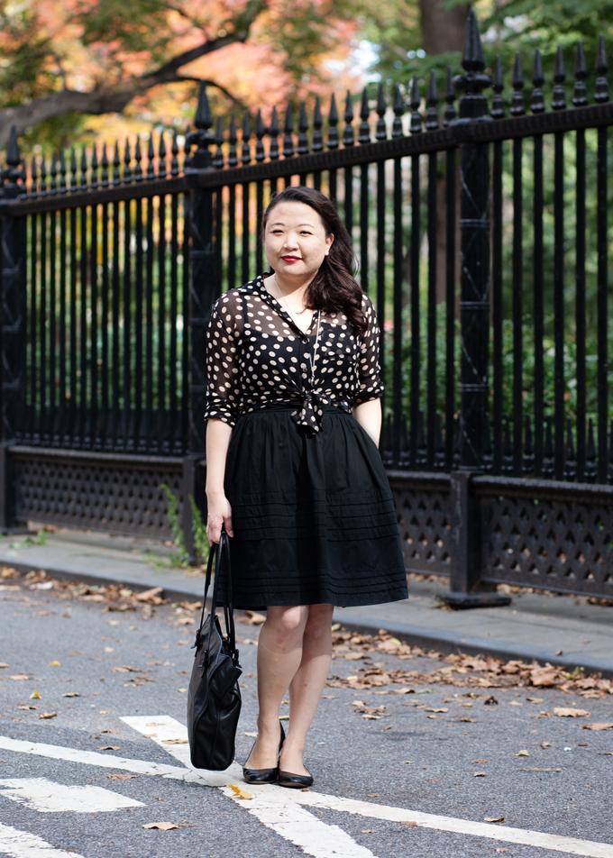 Vintage-inspired fall fashion | Equipment shirt | eShakti skirt