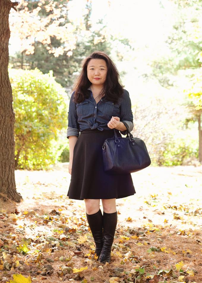 J.Crew Chambray Shirt and Black Skirt | Fall Fashion