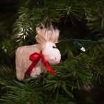crushed velvet moose christmas ornament