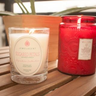 JewelScent Sugared Petals Candle and Voluspa Goji Tarocco Orange Candle
