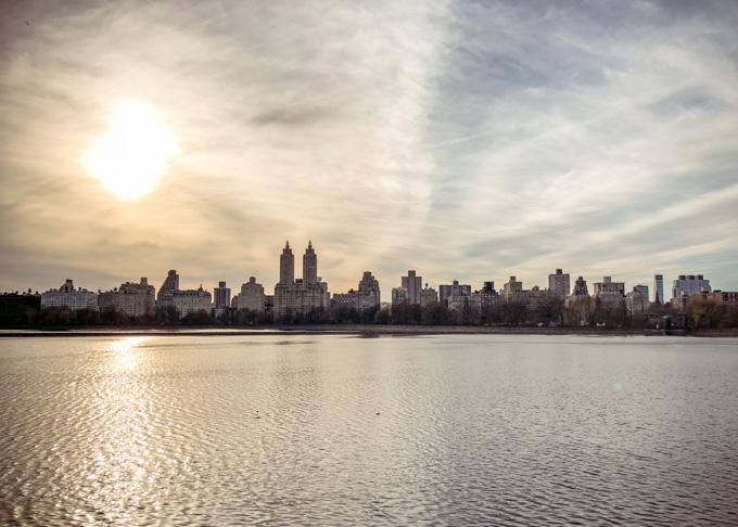 View across the reservoir, Central Park.