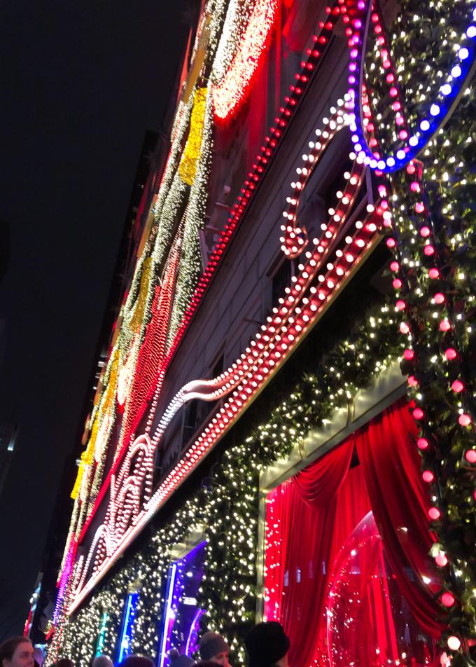 Close up of lights at Saks